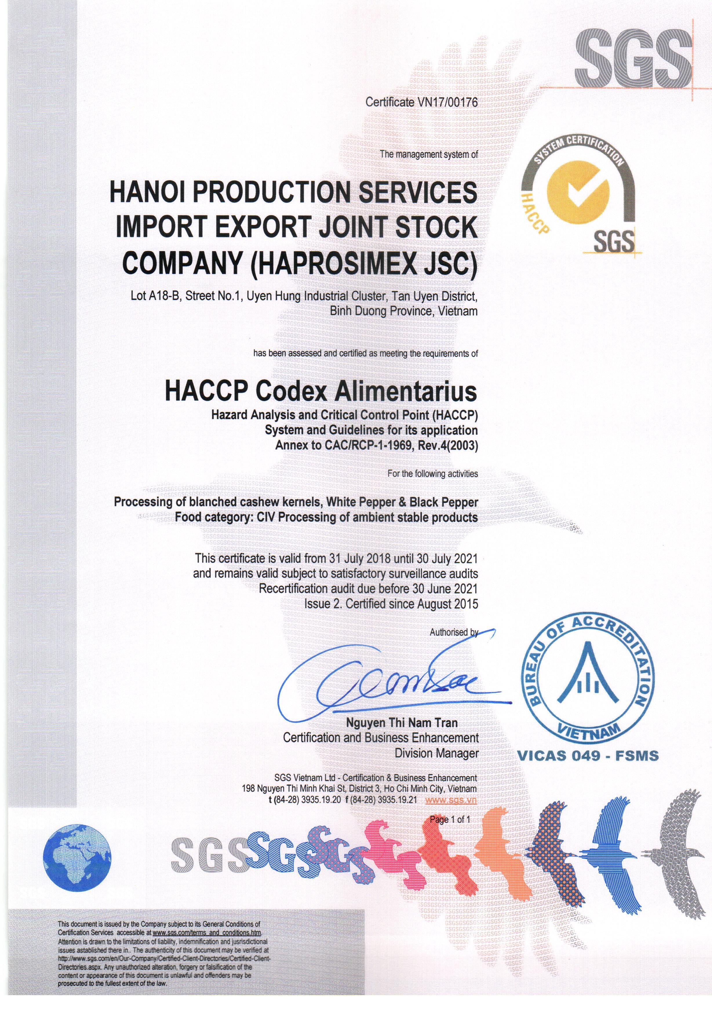 HACCP Certificate - Haprosimex JSC
